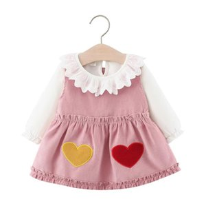 2020 kids clothes Autumn children's suit lace collar bottoming shirt with love suspender skirt girls children's clothing