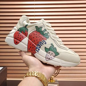 Women Fashion Shoes Leather Luxury Design Women &#039 ;S Rhyton Sneaker With Strawberry Sports Scarpe Da Donna With Origin Box Lady Shoes Fa
