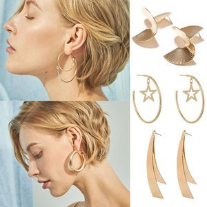 Hip Hop Personality Charm Women Earrings 8 Patterns Exaggeration Lady Pendant Studs Birthday Gift For Female Trendy Earring Jewelry