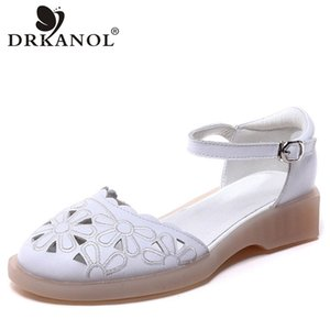 DRKANOL cuoio genuino dei sandali donne di estate signore Fibbia cinghia sandali degli appartamenti ricamo dimensioni casuale donne 34-41
