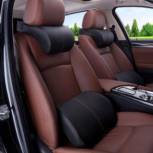 Couro Car Memória Interior Cotton Headrest Car Acessórios Artificial Ergonomic cabeça pescoço Rest Almofada Travesseiro