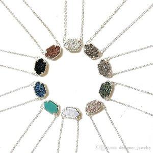 Luxo druzy Stone pingente de colar de Kendra Para as mulheres pedra geométrica Cura Natural cadeias Scott Prata moda jóias em massa