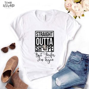 Straight Outta Shape But Heifer Im Tryin Cow Women Letter Tshirt Cotton Casual Funny T Shirt Gift For Lady Yong Girl Top