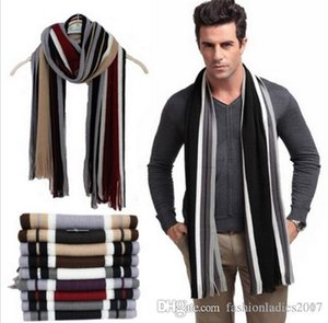 Winter designer scarf men striped cotton scarf female & male brand shawl wrap knit cashmere bufandas Striped scarf with tassels S663