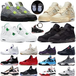 2020 SE Neon black cat Jumpman sail 4 4S IV white cement denim white trainers Mens Basketball Shoes metallic green Sports Sneakers