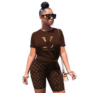 여성 디자이너 브랜드 2 조각 세트 스포츠 슈트 티셔츠 반바지 풀오버 S-2XL 반소매 조깅 정장 카프리스 셔츠 크루 넥 1246