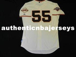 Barato MAJESTIC SAN FRANCISCO 55 Tim Lincecum bajo fresco Jersey para hombre cosido RARO mayor grande y alto TAMAÑO XS-6XL camisetas de béisbol