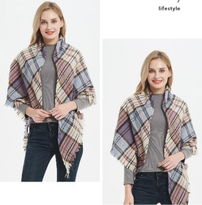 Ladies scarf Check Shawl Grid Oversized Tassel Wraps Lattice Triangle Neck Scarf Fringed Pashmina Winter Neckerchief Blankets GB1410