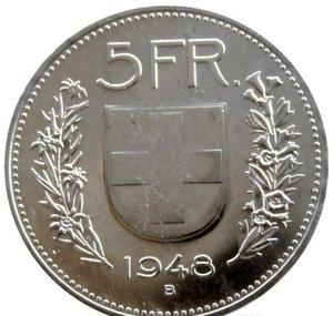 UNC 1948 Suíça (Confederação) Silver 5 francos (5 Franken) latão niquelado diâmetro Copiar Coin: 31,45 milímetros loveshop01 HXadV