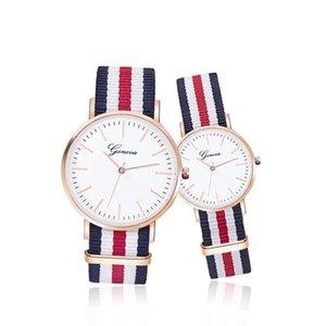 Mode-Genf-Uhr-Weinlese-Nylon Canva Gürtel Uhren GENEVA Paare Quarz-Armbanduhr-Frauen-Kleid-Armbanduhr-Korea-Art-Uhren-Armband