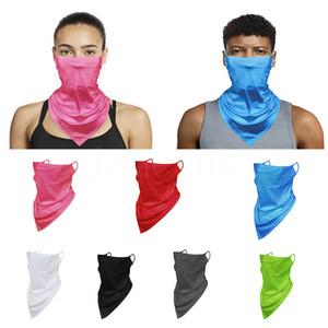 Sıcak satış düz renk erkek ve kadın buz ipek örgü nefes sürme üçgen eşarp asılı kulak sihirli eşarp maskesi da738