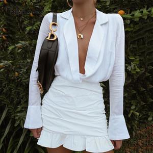 Tobinoone 섹시한 V 넥 프릴 드레스 여성 2020 가을 겨울 긴 높은 허리 vestidos 스트리트 파티 지퍼 드레스 슬리브