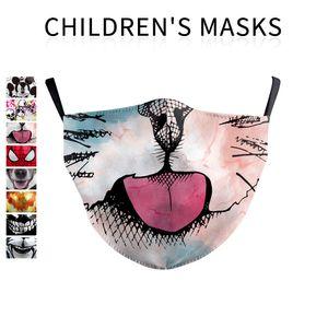 enfants Masque bouche Enfants Impression 3D carton masque anti-poussière réutilisable PM2,5 de protection Filtre lavable Kid Face Mask