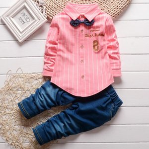 1-2-3 years old children's clothing wholesale boys spring clothes two sets of baby autumn shirts baby clothes 8-character jeans