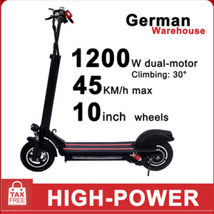 Germany Warehouse GYL002 Double drive 10inch 48V 1200W Electric Scooter Factory direct sales adult foldable city two-wheel