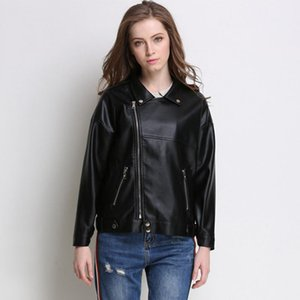 Women' Faux Pu Leather Jacket Spring Autumn Asymmetric Zipper Coat Solid Turn Down Collar Pockets Clothing For Female Outwear