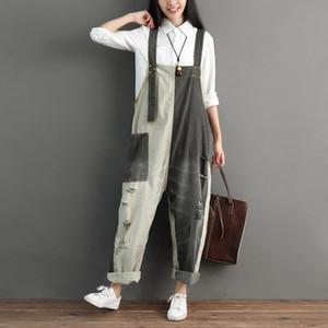 Women Dungarees Jumpsuit Patchwork Ripped Jeans Denim Romper Vintage Suspender Overalls Summer Harem Pants Block Color Jump Suit