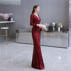 Deep Red Prom Gown V-neck Long Sleeve Lace Sequins Floor Length Evening Dress robe de soiree Custom Made