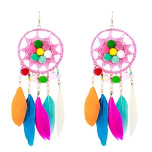 EH7302 exaggerated multi-layer long round feather fur ball earrings bohemian fashion women