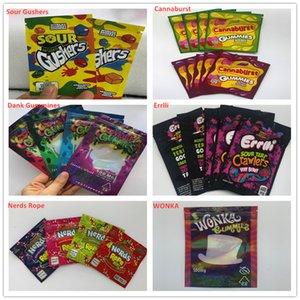 2020 En Yeni Boş Cannaburst Dank gummies Errlli Nerds Halat SP Wonka Ekşi Gushers Yenilebilir Çanta, çocukların açamayacağı mylar Çanta Kanıtı Koku