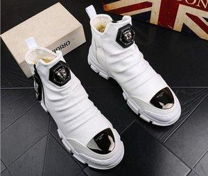 남자 펑크 신발 신발 새로운 이탈리아어 남성 패션 발목 부츠 봄 가을 리벳 로퍼 남성 하이 탑 럭셔리 신발