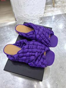 dernière conception pour rivets pour dames chaussures de plage bleu noir de couleur naturelle et dames violet cuir tissé pantoufles