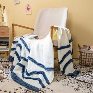 Tassles Summer Knit Throw Blanket for Travel Home Sofa Cover Mantas Koc for Chair Bed Photography Props 130x160cm