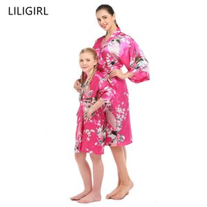 family matching clothes Simulation silk mother and daughter nightwear robe mommy and me pajamas peacock print Cardigan sleepwear Y200713