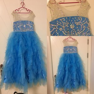 2020 Cheap Real Image Girls Pageant Dresses Blue Tulle Tiered Ruffles Long Crystal Beaded Kids Flower Girls Dress Birthday Gowns