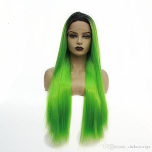 Long Straight Ombre Bright Green Lace Front Wig For Cosplay Make Up Fiber Hair Heat Resistant Synthetic Wigs for Women