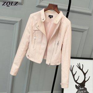 ZQLZ chaqueta de imitación de cuero de las mujeres 2020 nuevas de la PU señoras de la calle del otoño básico Coats ocasional femenina de la capa de cuero Negro Corto Mujer