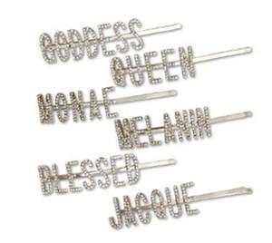 QUEEN / DÉESSE / BENI Lettres Cristal Barrettes strass cheveux clip métal Barrettes femmes Couvre-chef Accessoires de cheveux