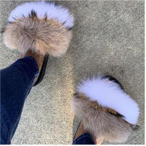Mode Real Waschbär-Pelz-Slipper Slides Sommer-Flipflops beiläufige Vogue Fox-Pelz-Sandalen Vogue Plüsch Schuhe