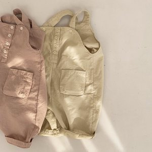 Korean Style INS Kids Little Girls Overalls Children Sleeveless Quality Tatting Cotton Unisex Pants Autumn Child Pants for 1-6T