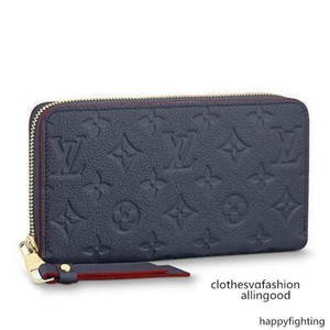 M62121 Zippy Wallet Embossing Navy Blue Real Caviar Lambskin Flap Bag Long Chain Wallets Key Card Holders Purse Clutches Evening