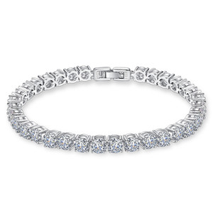 925 Sterling Silver 5MM Cubic Zirconia Tennis Iced Out Bracelet Chain Crystal Wedding Party Jewelry for Women