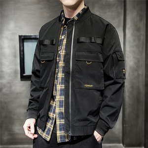 Artı boyutu Mens Nakış ceketler Bahar Casual Erkek Uzun Kollu Coats ile Pocket Kaykay Moda İnce Fermuar Ceket Palto