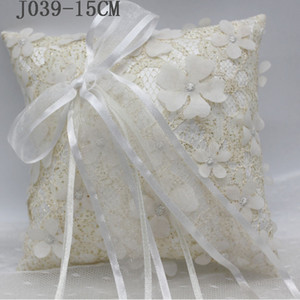 2020 New Wedding Ring Pillow With Ribbons 15x15cm Flower Lace Wedding Ring Holder Marriage Ring Cushion Bearer Wedding Party Decoration J039
