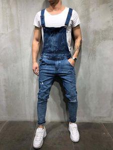 Nouveau Mode Hommes Jeans Ripped barboteuses Casual avec ceinture Tenues trou Denim Salopette Bike Jean
