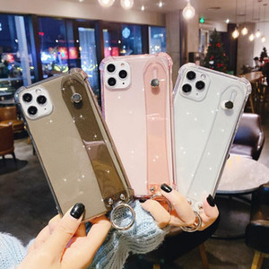 Luxury Transparent Wristband Glitter Phone Case for IPhone 11 Pro Max X Xsmax 7 8plus Anti-shock Soft TPU Back Cover Cases wholesale