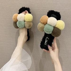 PUPUDA mullido Zapatillas Mujeres New peludo zapatillas casa de moda otoño 2020 zapatos ligeros femeninos