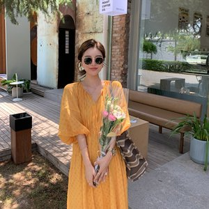 Dahuayuan DHY Summer New V-neck Long-Sleeved Flower Sleeves Polka Dot Waist Skirt Midi Dress Women