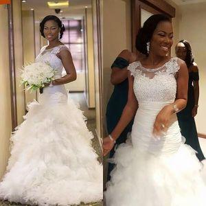 Gorgeous Mermaid Wedding Dresses Designer Ruffle Skirt Bridal Gowns Lace Applique Beading Bodice Jewel Neck Cap Sleeves Plus Size B93