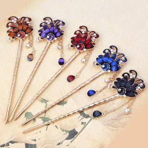 Les femmes Rhinestone Peacock cheveux Sticks oiseaux Fleurs Hairpin style chinois main Accessoires cheveux Bijoux Mode
