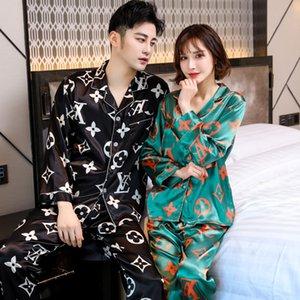 jAuM8 Frauen Herbst lange Kleidung nach Hause Pyjamas Hülse dünne Internet Berühmtheit gleichen Ice Silk Hauptkleidung der Männer Anzug der koreanischen Art Paar paj