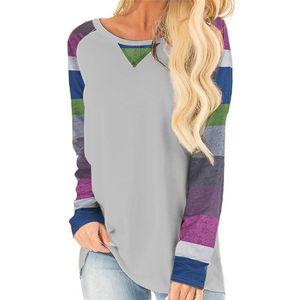 Autumn Top Women Long Sleeve T Shirt Female Striped Top Women Raglan Sleeve Tee Shirt O-neck Tee Lady Tops 2020