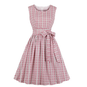 Dress Cotton National Style Retro Women's Mid Calf Dresses Conventional Sleeves Zipper Large Swing Dresses Natural Color