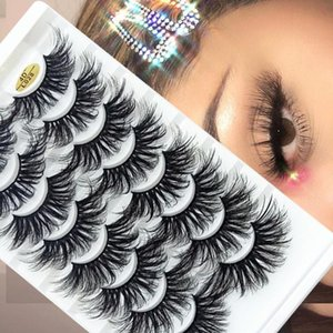 8Pairs 25MM Mink False Eyelashes Natural Wispies Fluffy Eye Lashes Full Volume Handmade Cruelty-free Eye Extension Makeup Tools