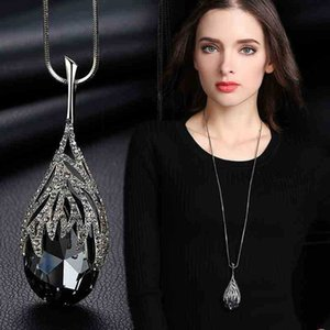 Crystal Water Drop Pendant Necklace For Women Geometric Hollow out Chains For Girl Best friend Fashion Jewelry Dropshipping