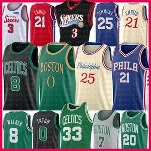Joel Ben 25 Embiid Simmons Kemba Jayson Walker Tatum Basketball Jersey Larry Allen Iverson Vogel Jaylen Gordon Brown Hayward Smart-Al Horford